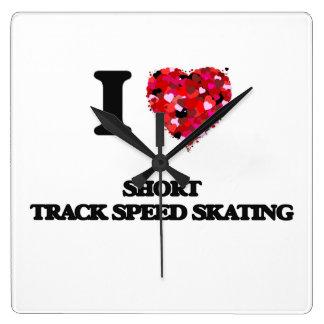 I Love Short Track Speed Skating Wall Clocks