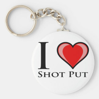 I Love Shot Put Basic Round Button Keychain