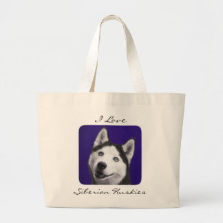 I Love Siberian Huskies Jumbo Canvas Totebag Large Tote Bag