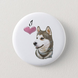 I love Siberian Husky Dog art design 2 Inch Round Button