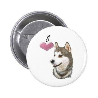 I love Siberian Husky Dog art design 2 Inch Round Button