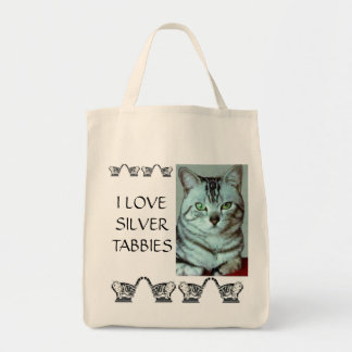 I Love Silver Tabbies Grocery Tote Bag