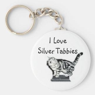 I Love Silver Tabbies Basic Round Button Keychain