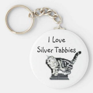 I Love Silver Tabbies Basic Round Button Keychain