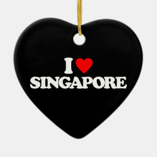 I LOVE SINGAPORE Double-Sided HEART CERAMIC CHRISTMAS ORNAMENT