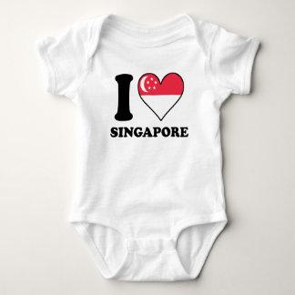 I Love Singapore Singaporean Flag Heart Baby Bodysuit