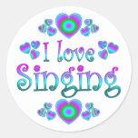 I Love Singing Round Stickers