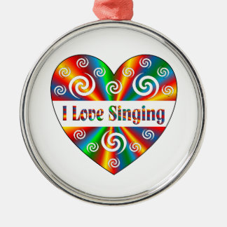 I Love Singing Silver-Colored Round Ornament