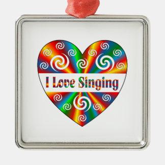 I Love Singing Silver-Colored Square Ornament
