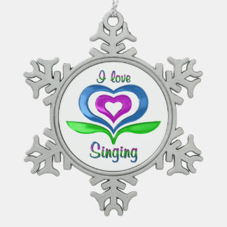 I Love Singing Snowflake Pewter Christmas Ornament