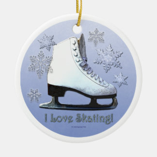 I Love Skating Ceramic Ornament
