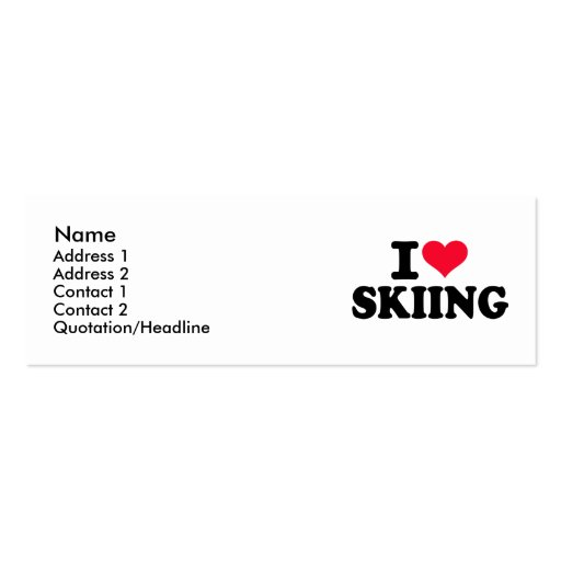 I love Skiing Business Card Template