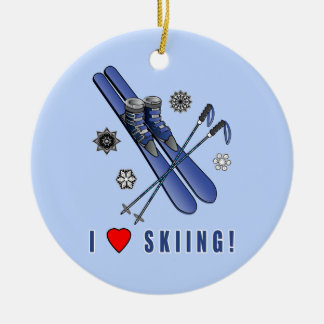 I Love Skiing! Ceramic Ornament