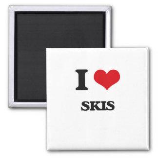 I Love Skis Magnet