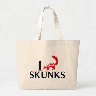 I Love Skunks Large Tote Bag