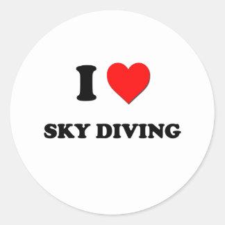 I love Sky Diving Classic Round Sticker