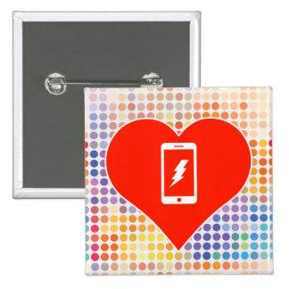 I Love Smartphone 2 Inch Square Button