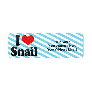 I Love Snail Return Address Label