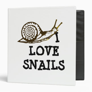 I Love Snails 3 Ring Binder