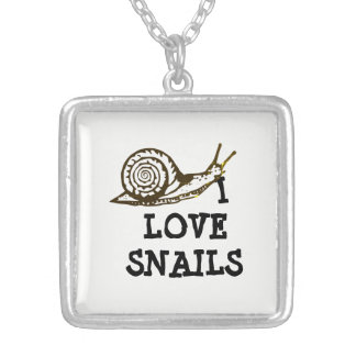 I Love Snails Silver Plated Necklace