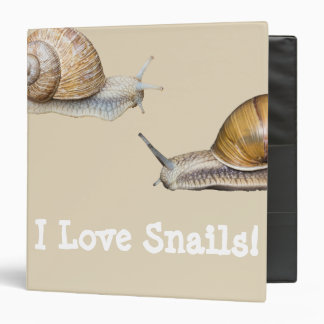 I Love Snails Snail Design 3 Ring Binders