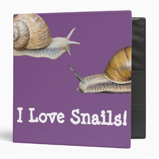 I Love Snails Snail Design Binder