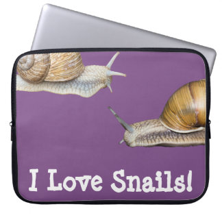 I Love Snails Snail Design Laptop Sleeve