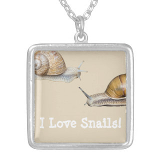 I Love Snails Snail Design Silver Plated Necklace