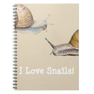 I Love Snails Snail Design Spiral Notebook