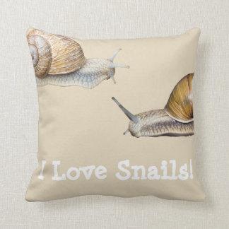 I Love Snails Snail Design Throw Pillow