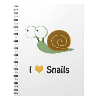 I love snails spiral notebook