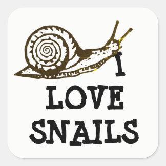 i Love Snails Square Sticker