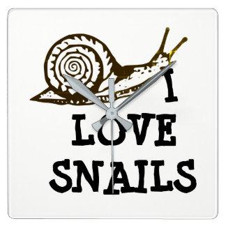I Love Snails Square Wall Clock