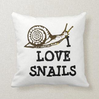 I Love Snails Throw Pillow
