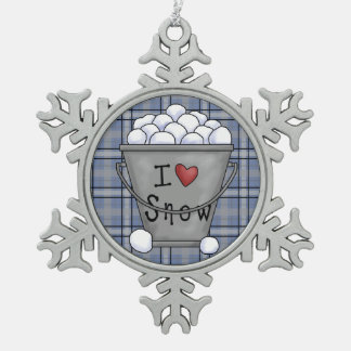 I love snow pewter snowflake ornament