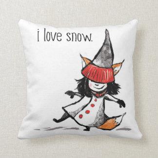 I love snow! throw pillow