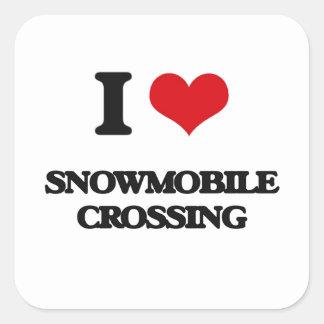 I love Snowmobile Crossing Square Sticker