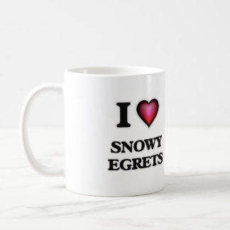 I Love Snowy Egrets Coffee Mug