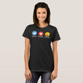I Love Soccer Emoji Emoticon Soccer Mom Funny T-Shirt
