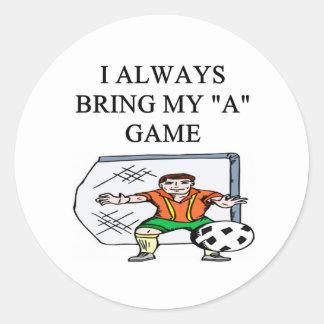 i love soccer goalie classic round sticker