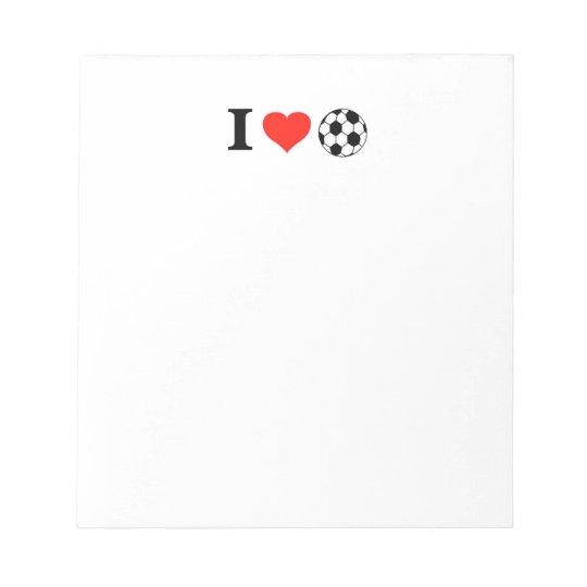 I Love Soccer Heart Notepad