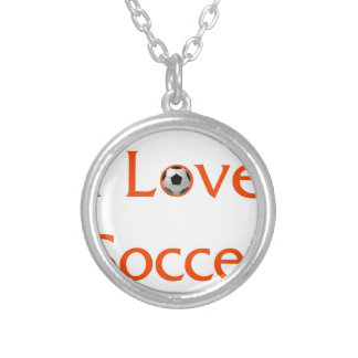 I Love Soccer Silver Plated Necklace