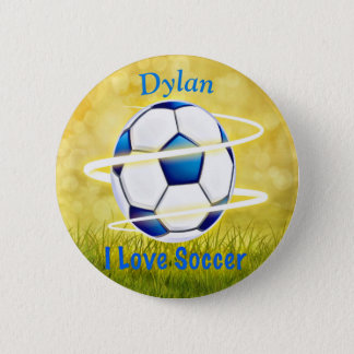 I Love Soccer With Monogram 2 Inch Round Button