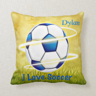 I Love Soccer With Monogram Throw Pillow