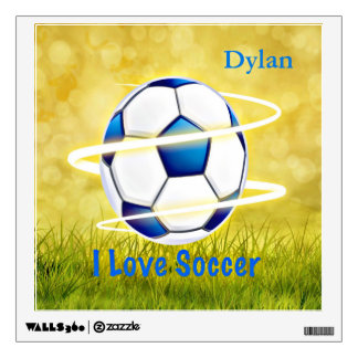 I Love Soccer With Monogram Wall Decal