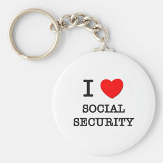 I Love Social Security Basic Round Button Keychain
