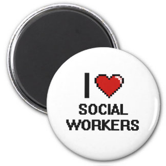 I love Social Workers 2 Inch Round Magnet