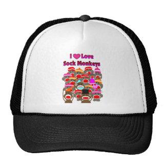 """""""I LOVE SOCK MONKEYS""""   Gifts Trucker Hat"""