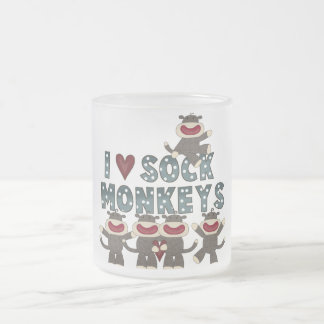 I Love Sock Monkeys Tshirts and Gifts Frosted Glass Mug