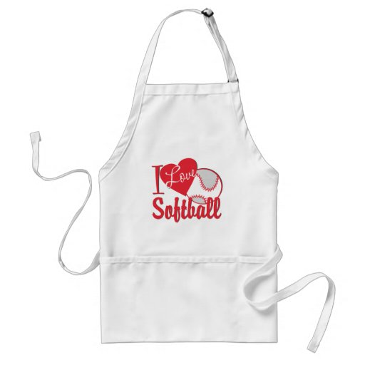 I Love Softball Apron